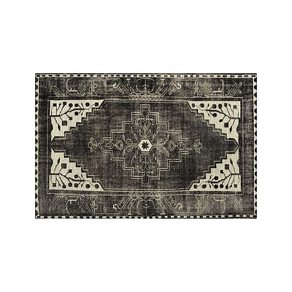 6 X9 Handmade Persian Wool Silk Area Rug Oriental Design: Anice Black Hand Knotted Oriental 6'x9' Rug In Anice Black