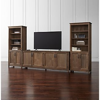 "Ainsworth Walnut 85"" Media Console and Two 30"" Towers with Glass/Wood Doors"