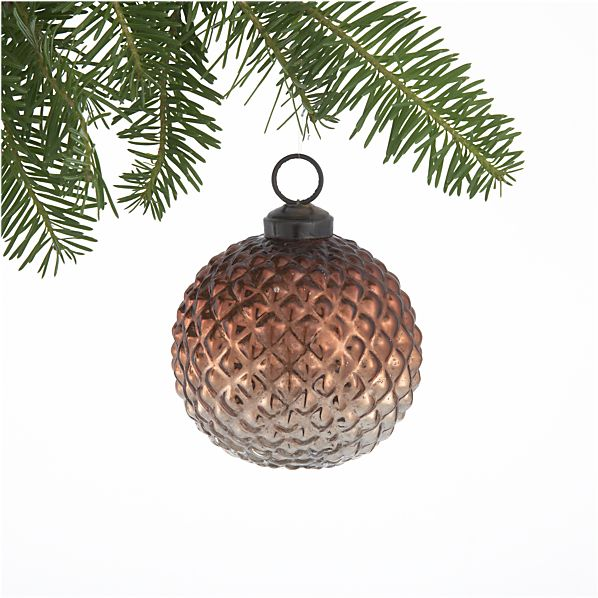 Antiqued Glass Copper Textured Dot Ball Ornament