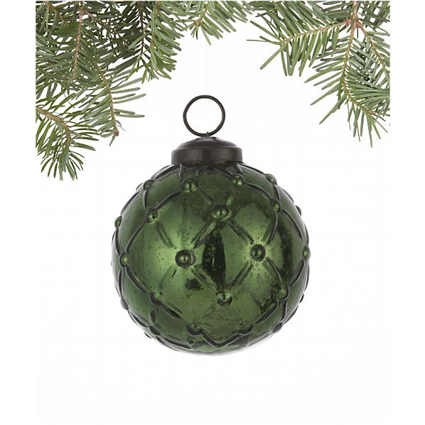 Antiqued Dark Green Lattice Ball Ornament