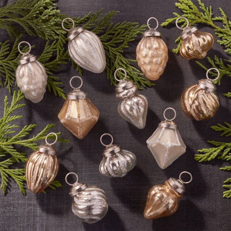 Set of 12 Antiqued Silver/Gold Glass Mini Ornaments