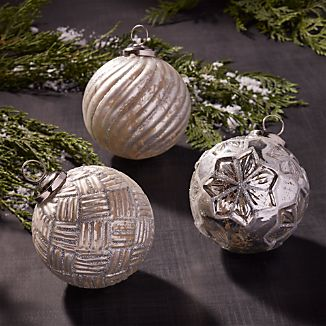 Antiqued Glass Glitter Ball Ornaments