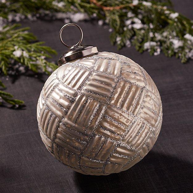 Antiqued Glass Glitter Plaid Ball Ornament