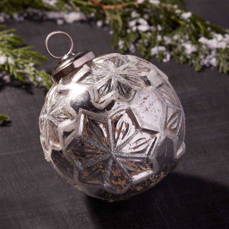 Antiqued Glass Glitter Star Ball Ornament