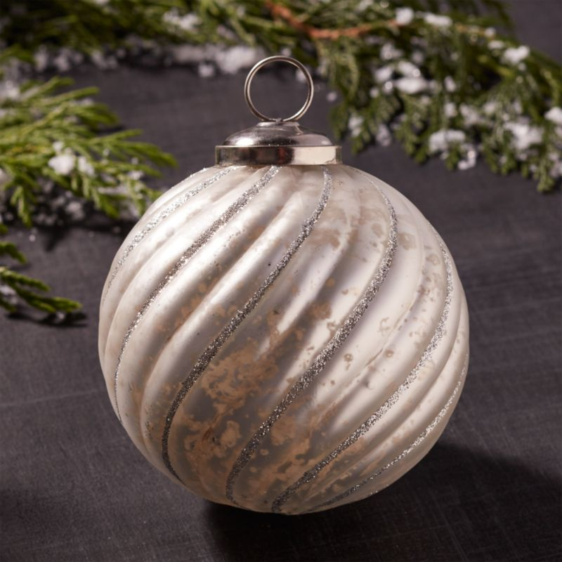 Antiqued Glass Glitter Swirl Ball Ornament
