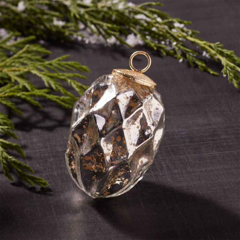 Silver Antiqued Glass Diamond Drop Ornament
