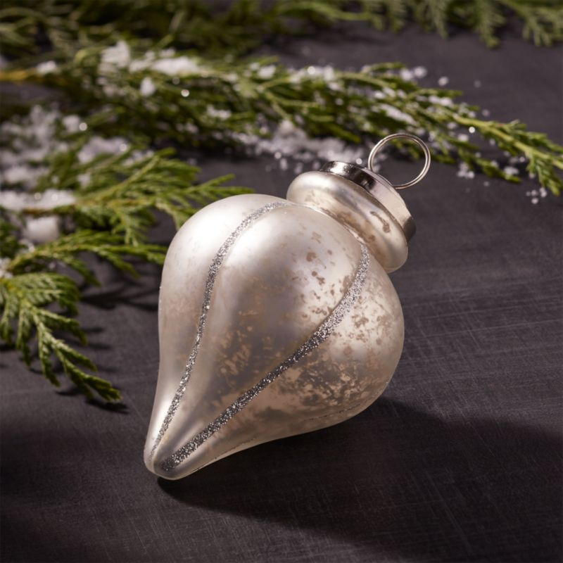 Antiqued Silver Glitter Line Finial Glass Ornament