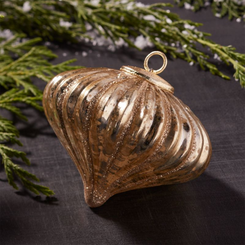 Antiqued Gold Glitter Line Onion Glass Ornament