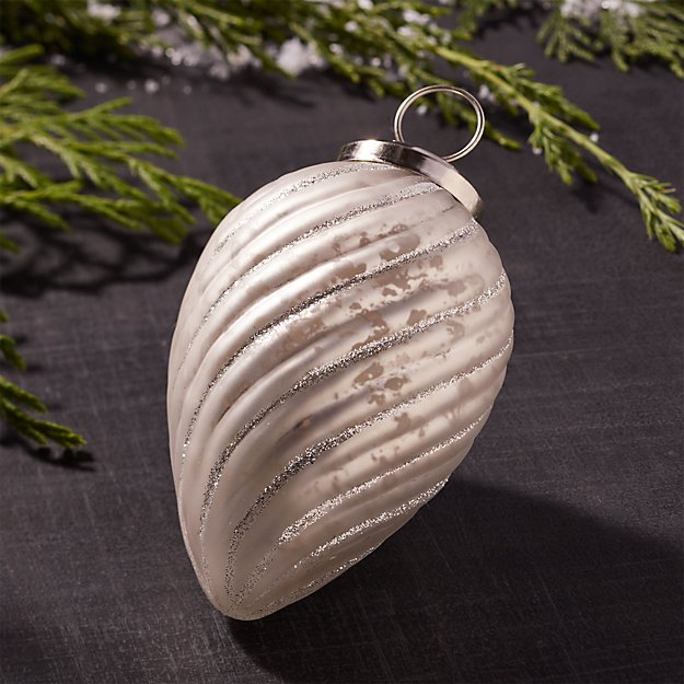 Silver Antiqued Glass Swirl Drop Ornament