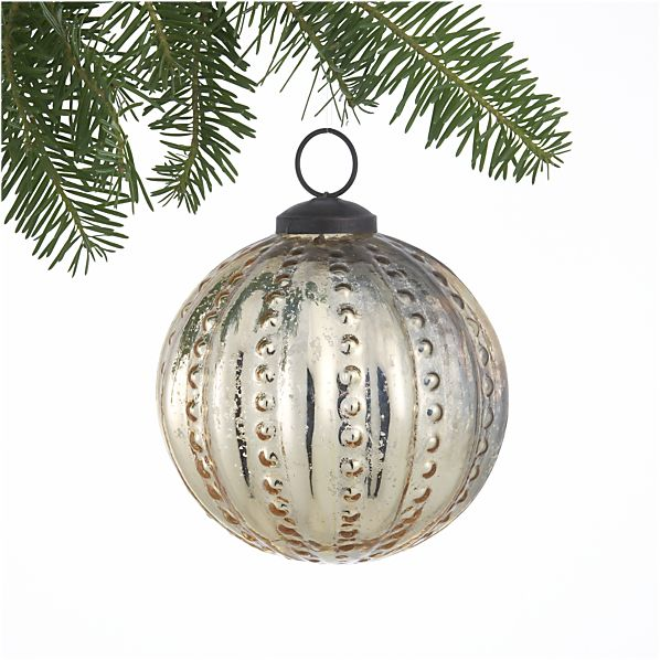 Antiqued Gold Hobnail Ball Ornament
