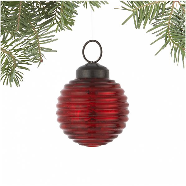 Antiqued Red Ribbed Ball Ornament
