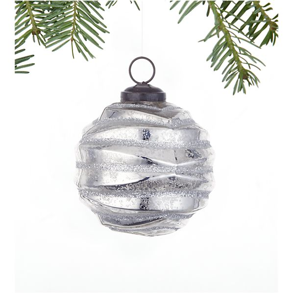Antiqued Silver Glitter Origami Ornament