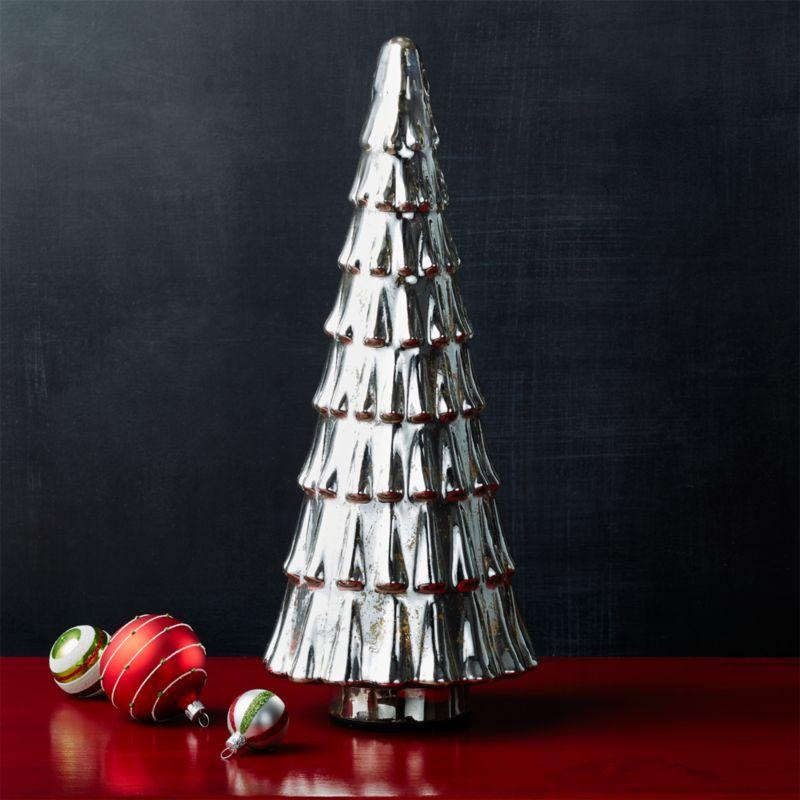 Antiqued Mercury Glass Tall Lit Tree