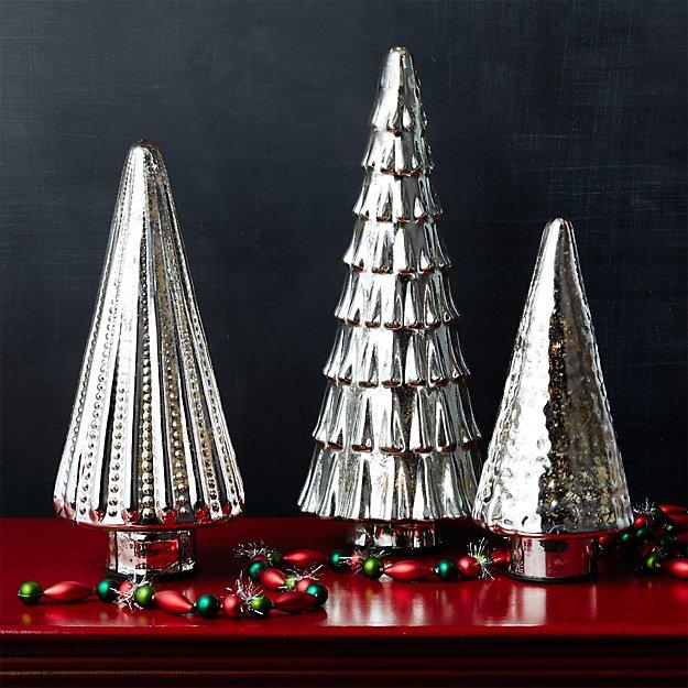 Antiqued Mercury Glass Lit Trees