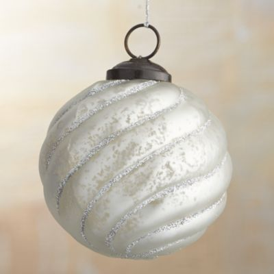Antiqued Glass Glitter Ball Ornament