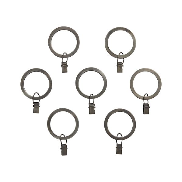 Set of 7 Antiqued Zinc Curtain Rings