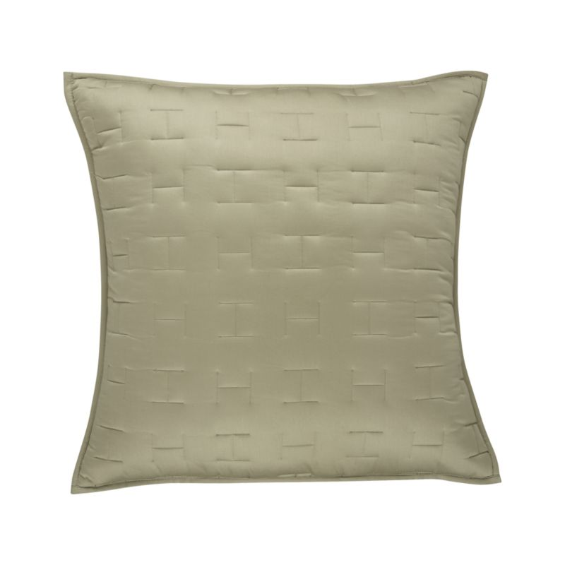 Our sumptuous take on fine bedding tracks modern in soft sateen cotton finely stitched in a crisp geometric repeat.  Sham reverses to self and has generous overlapping back closures. Bed pillows also available.<br /><br /><NEWTAG/><ul><li>100% cotton sateen</li><li>100% polyester fill</li><li>Polyester fill</li><li>Dry clean</li></ul>