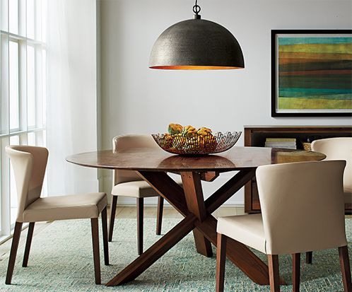 Apex brown dining table with leather side chairs