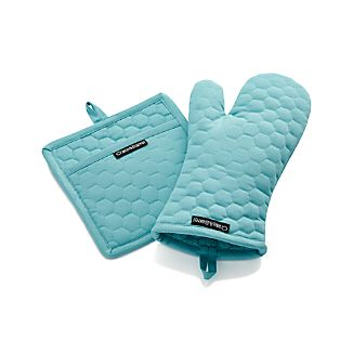 Aqua Blue Oven Mitt and Pot Holder