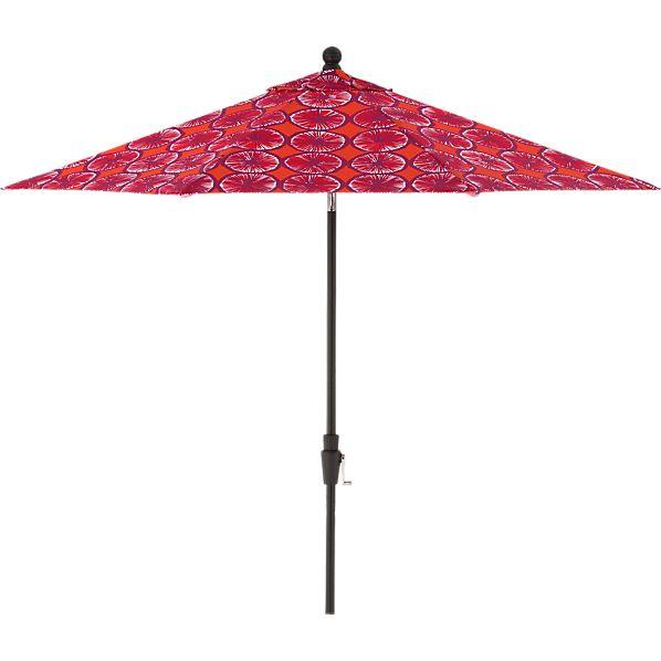 9' Round Marimekko Appelsiini Caliente Umbrella with Black Frame