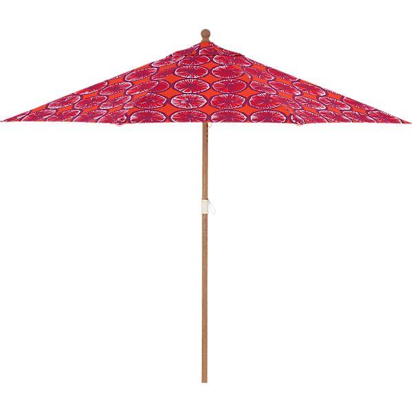 9' Round Marimekko Appelsiini Caliente Umbrella with Eucalyptus Frame