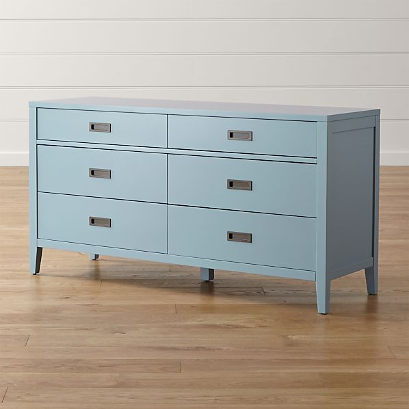 Arch Blue Six-Drawer Dresser
