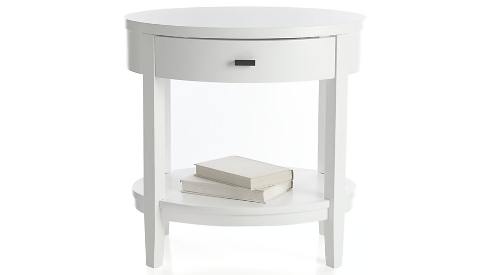 Arch White Oval Nightstand