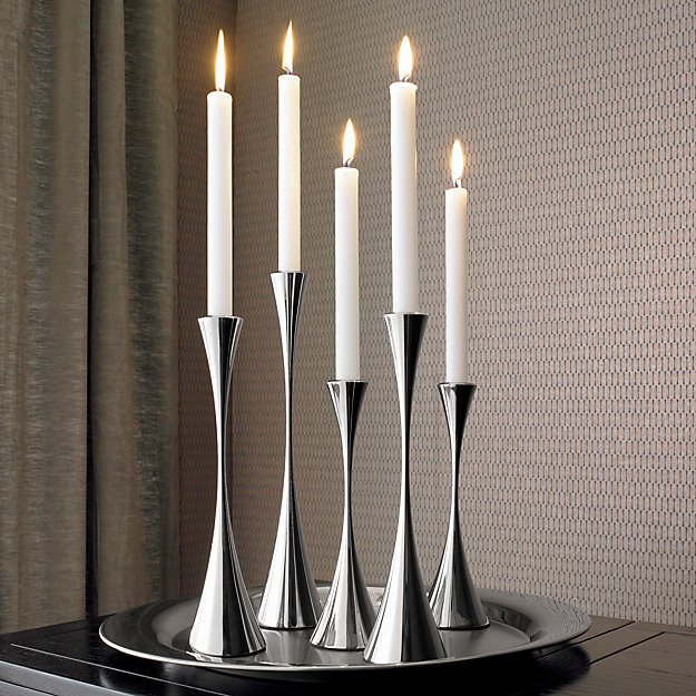 Arden Mirrored Stainless Steel Taper Candle Holders