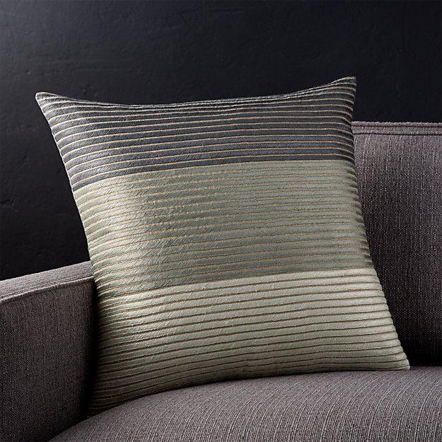 "Arjone 18"" Grey Striped Pillow with Down-Alternavte Insert"