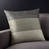 """Arjone 18"""" Grey Striped Pillow with Feather-Down Insert"""