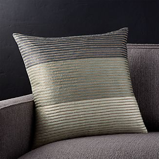 "Arjone 18"" Grey Striped Pillow"