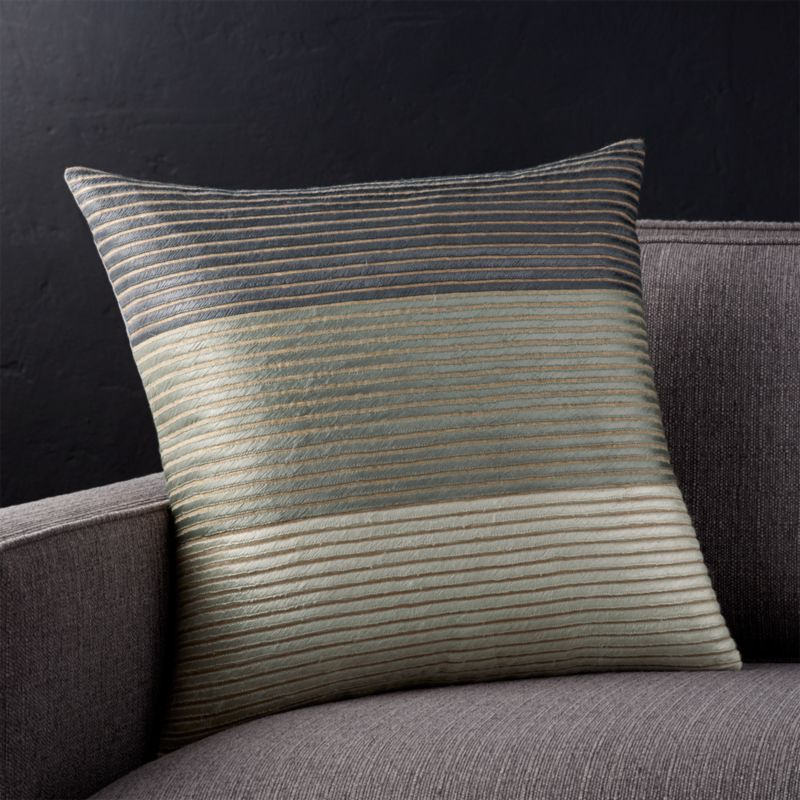 "Arjone 18"" Grey Striped Pillow with Feather-Down Insert"