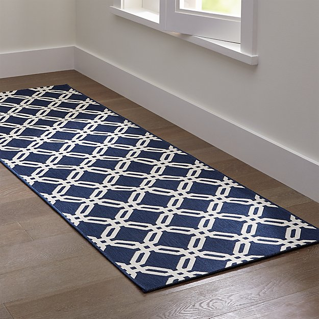 Arlo blue indoor outdoor rug runner crate and barrel for Indoor outdoor runners rugs