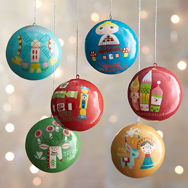 Set of 6 Around the World Ornaments