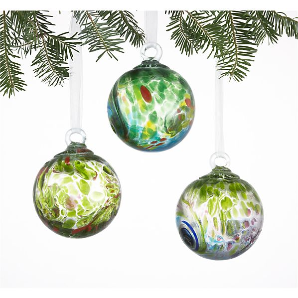 Set of 3 Art Glass Green Ball Ornaments
