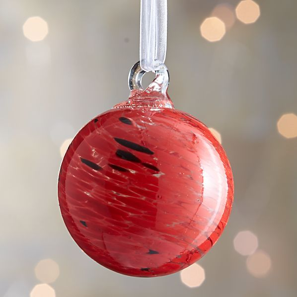 Red Art Glass Ball Ornament