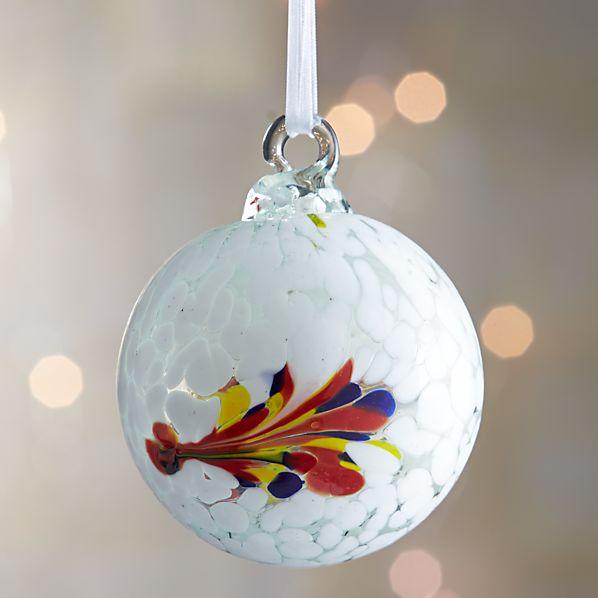 White Art Glass Ball Ornament