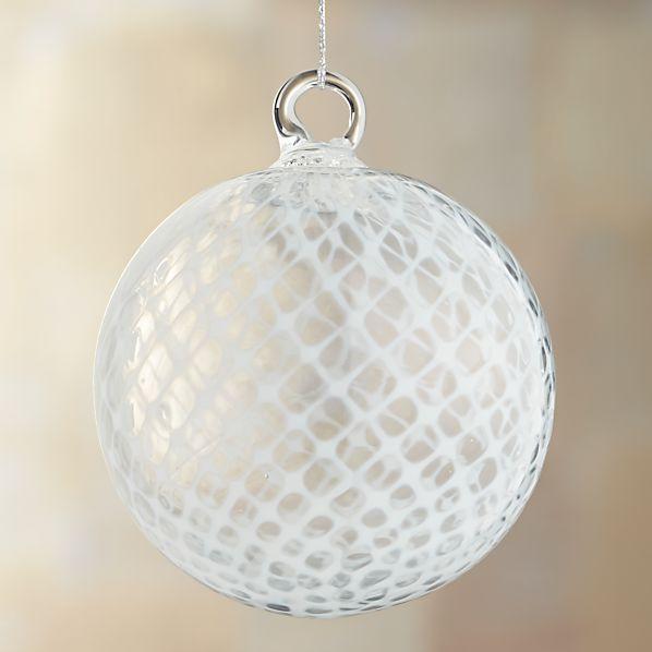 White Basketweave Art Glass Ball Ornament