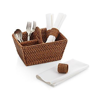 Artesia Rattan Flatware Caddy