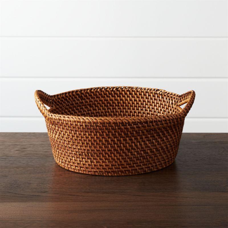 Artesia Large Honey Rattan Bread Basket Crate And Barrel