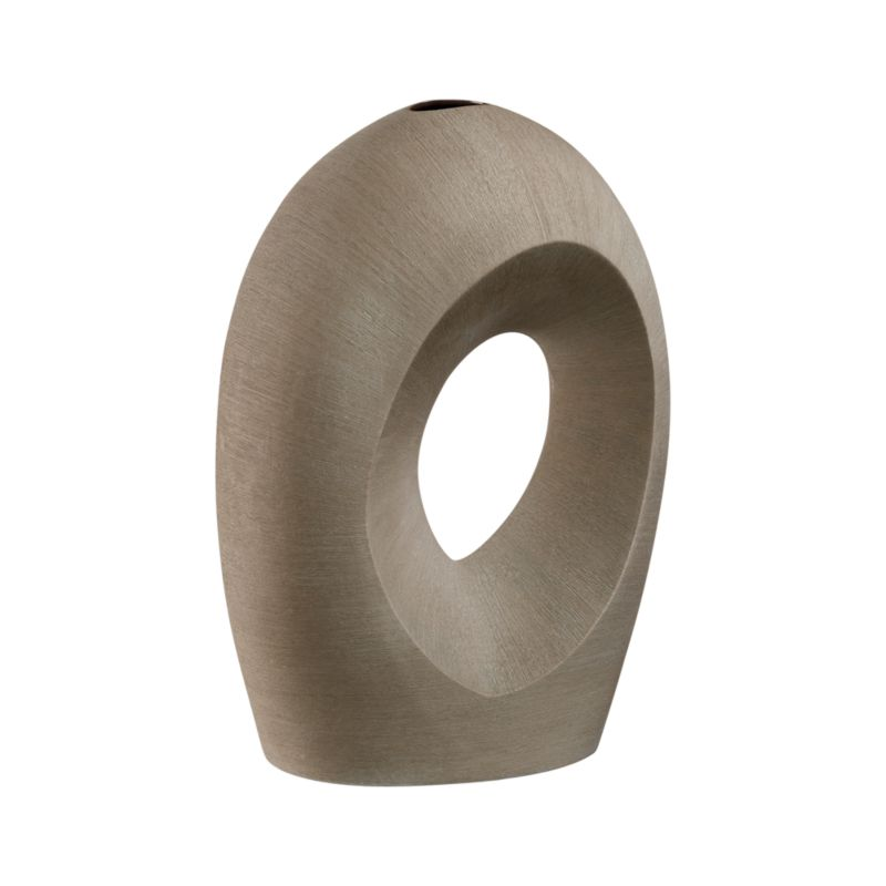 Modern porcelain sculpture swoops in angled curves with a textural matte finish in taupe. Cut-out center diverts fresh or dried stems on an eye-catching slant. Complements the Artura Small Grey Vase. Each handmade piece will be unique.<br /><br /><NEWTAG/><ul><li>Molded porcelain</li><li>Watertight</li><li>Protective foam pad on base</li><li>Hand wash</li><li>Made in Thailand</li></ul>