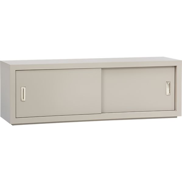 "Ascend Taupe 55"" Sliding Door Storage Unit"