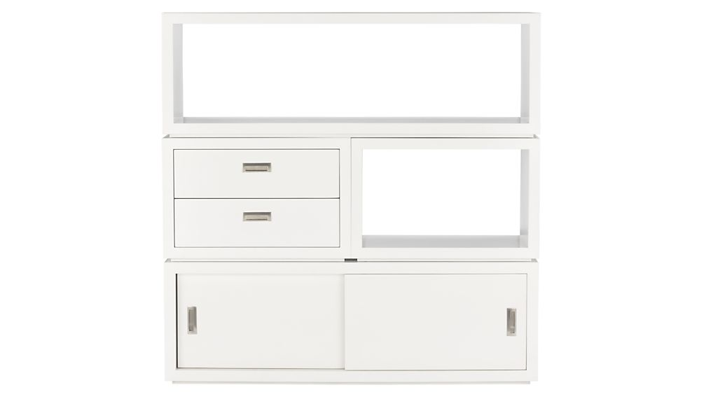"Ascend II White 55"" Sliding Door Storage Unit"