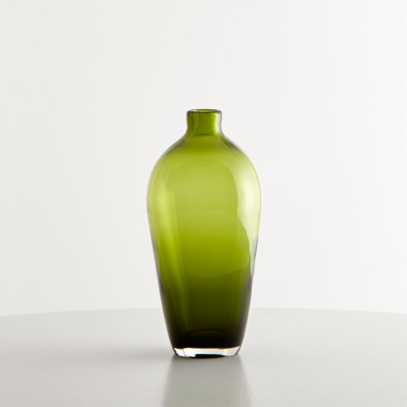 Ashby Small Olive Green Glass Vase