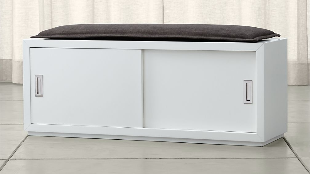 "Aspect 47.5"" Sliding Door Bench with Cushion"