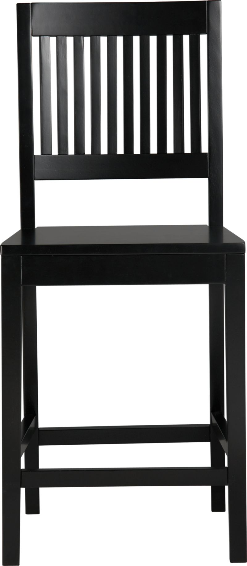 """An update of the classic slat-back brings a contemporary edge to traditional Arts and Crafts styling. Handcrafted of sustainable solid rubberwood with a black lacquer finish.<br /><br /><NEWTAG/><ul><li>Solid sustainable rubberwood</li><li>Black lacquer finish</li><li>24""""H seat sized for counters</li><li>Made in Vietnam</li></ul>"""