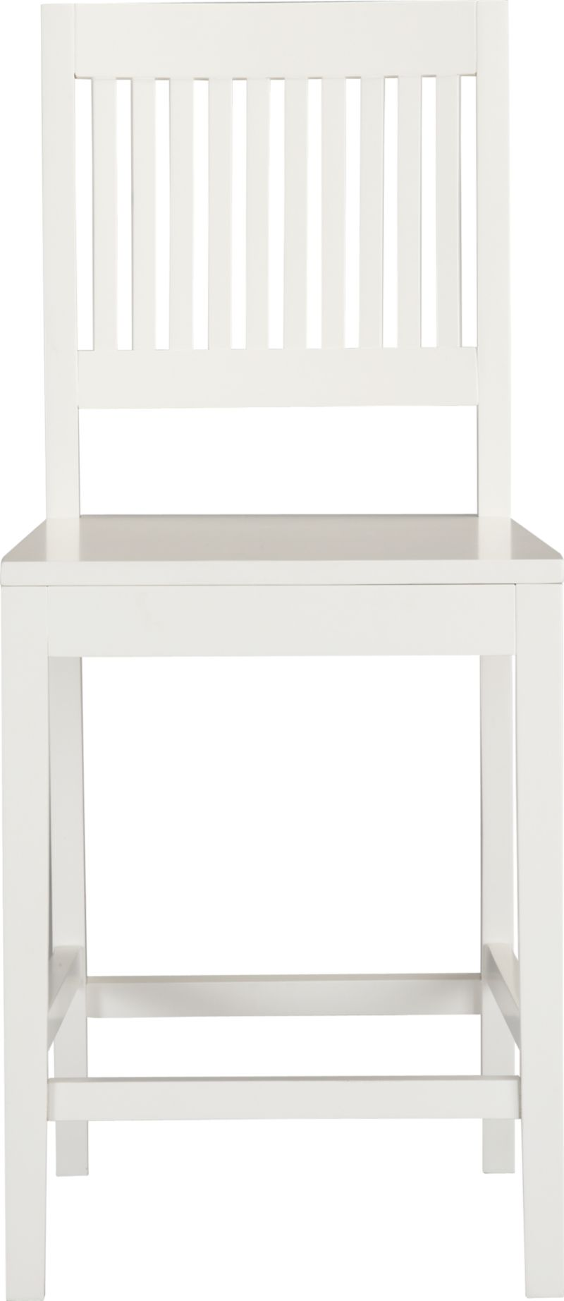 """An update of the classic slat-back brings a contemporary edge to traditional Arts and Crafts styling. Handcrafted of sustainable solid rubberwood with a white lacquer finish.<br /><br /><NEWTAG/><ul><li>Solid sustainable rubberwood</li><li>White lacquer finish</li><li>24""""H seat sized for counters</li><li>Made in Vietnam</li></ul>"""