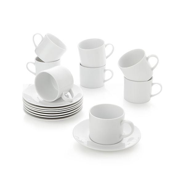 Set of 8 Aspen Cups and Saucers