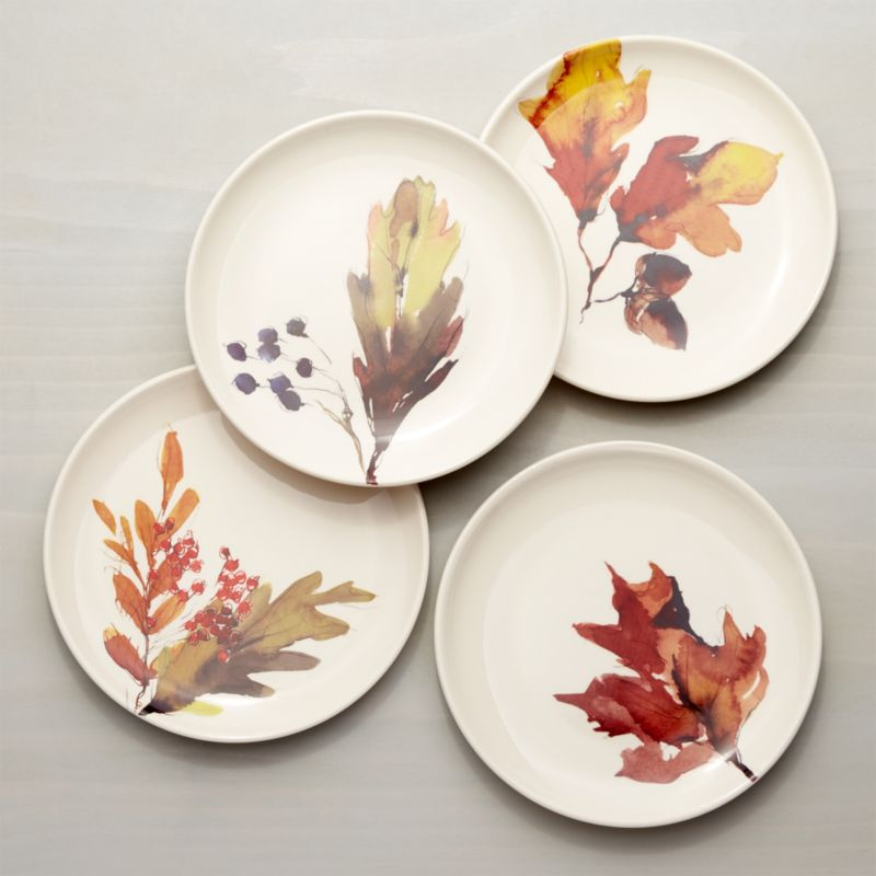 Autumn Foliage Plates Set of Four