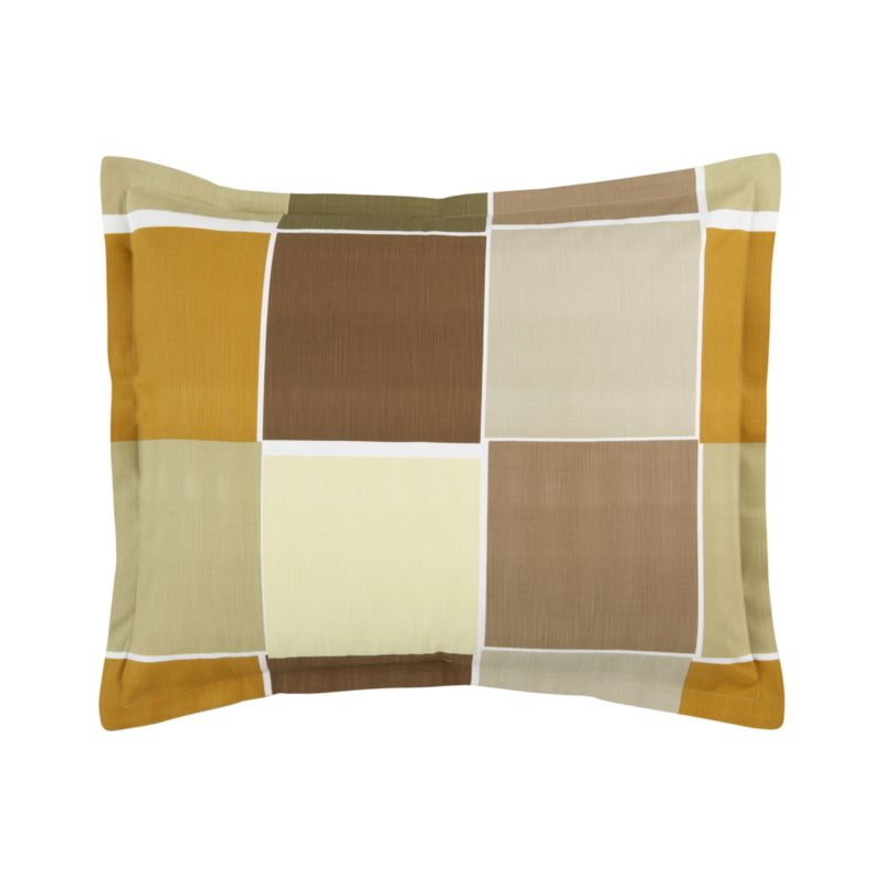 """Modern Portuguese linens color block warm, earthy neutrals with asymmetrical white frames. Textured cotton adds depth and interest. Shams are random-cut for variety and finished with 1"""" flange and generous overlapping back closures. Bed pillows also available.<br /><br /><NEWTAG/><ul><li>100% cotton</li><li>200-thread-count</li><li>Pattern placement on shams may vary from sample shown</li><li>Machine wash</li></ul>"""
